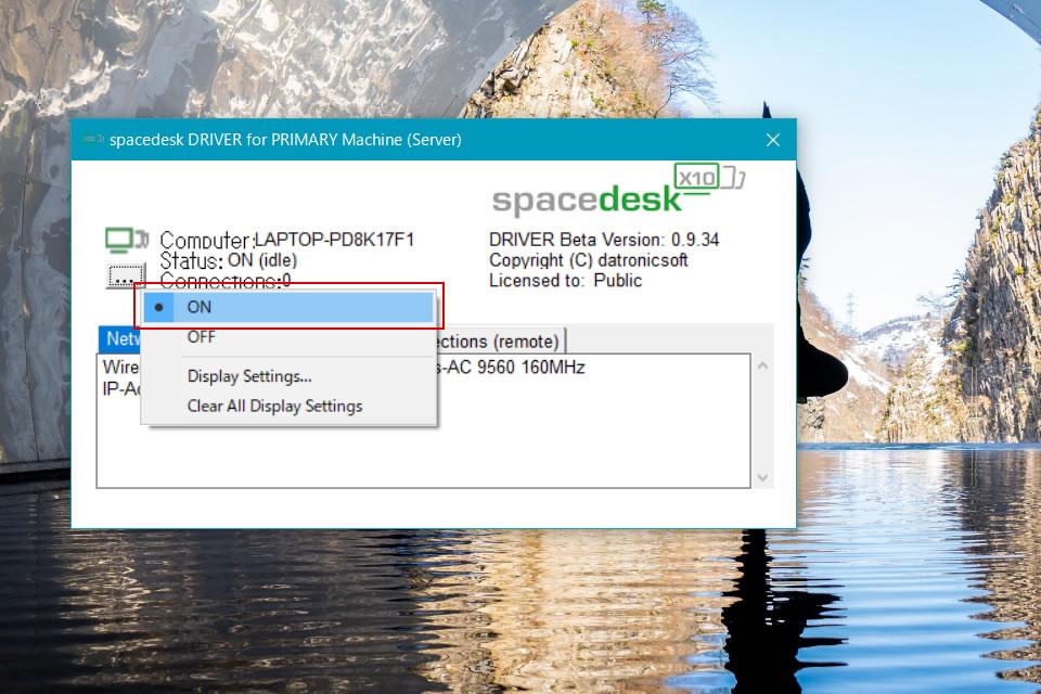 PC版spacedeskの画面2